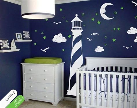 Vinyl Wall Decal Lighthouse Moon Stars Clouds Wall Decal Vinyl Wall Decals Nursery