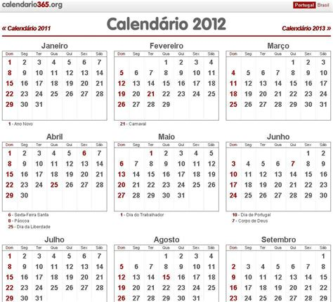 Calendario De 2012 Calendario 2012 Para Imprimir Em Portugues Imagui
