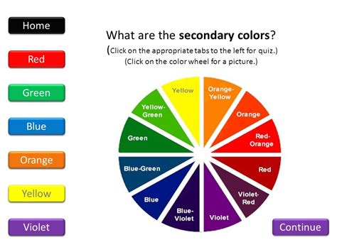 what are the secondary colors home primary secondary tertiary warm cool quiz ppt