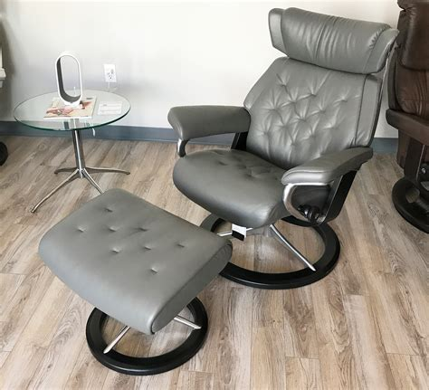 grey leather chair and ottoman stressless skyline signature base metal grey