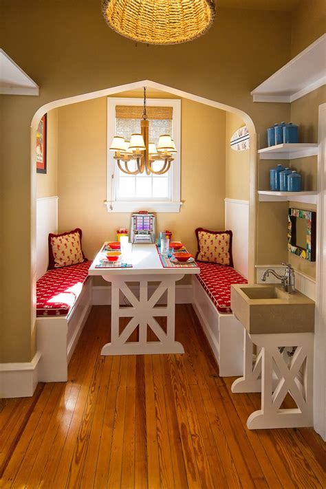 kitchen alcove ideas breakfast nook benches dining room mediterranean with alcove banquette baseboards