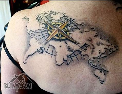 tattoo 3d mapping world map 3d compass tattoo by rain at bltnyc tattoo shop