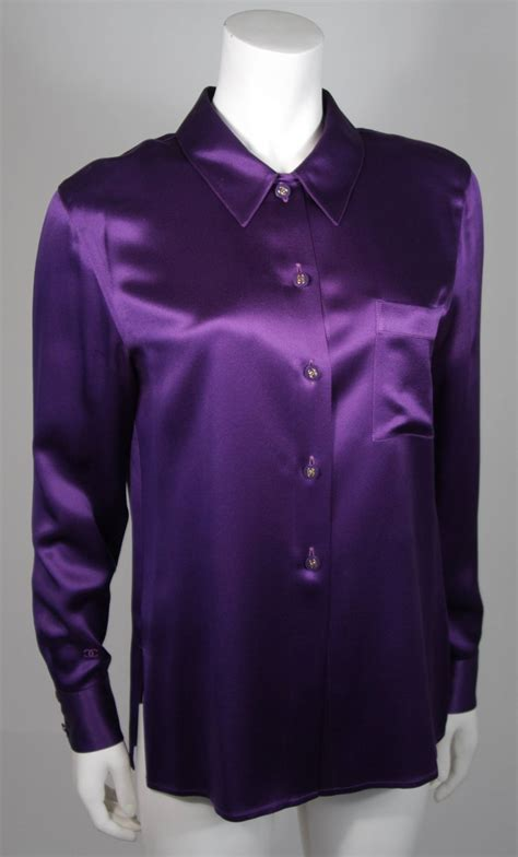 Purple Flower Blouse chanel purple silk blouse size large at 1stdibs