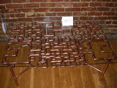 copper pipe art hilbert curve coffee table