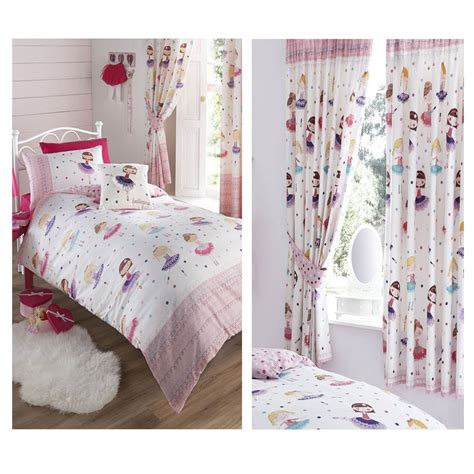Single Bedding And Curtain Sets Ballerina Duvet Bedroom Range Single Curtains Available Bedding Ebay