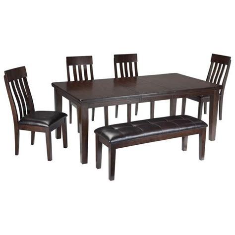 6 piece dining set with bench ashley haddigan 6 piece dining set with bench in dark