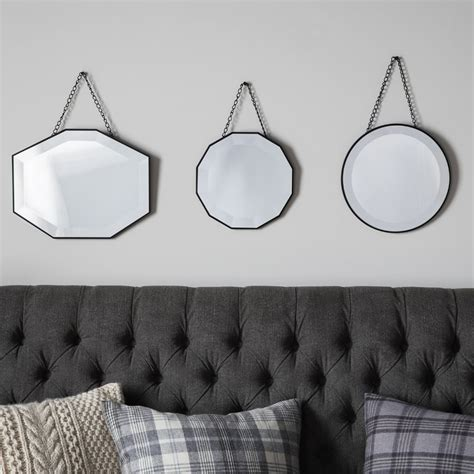 Set Vintage 3 set of 3 vintage style hanging wall mirrors decorative