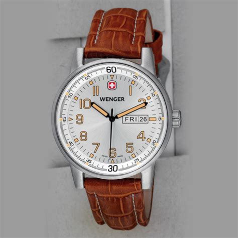 Swiss Army Sa099 Brown Silver wenger swiss watches commando day date xl wrist