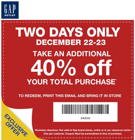 printable coupons gap outlet usa gap outlet 40 off printable coupon