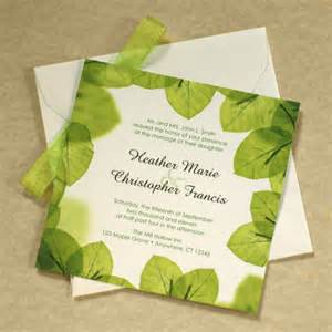 green wedding invitations green leaf wedding invitation leaf border green wedding
