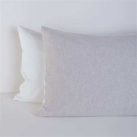 grey pillow cases linen blend pillow cases set of 2 grey and white