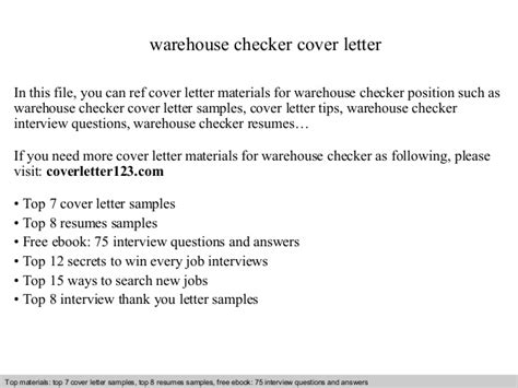 Checker Cover Letters by Warehouse Checker Cover Letter