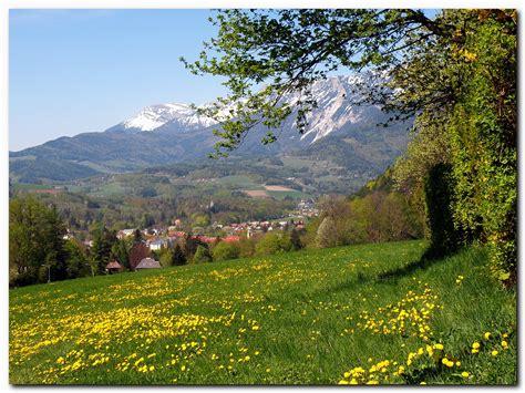 alpen urlaub österreich hintergrundbilder blau himmel berg schnee gr 252 n gelb