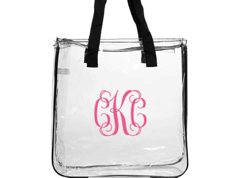 monogrammed clear stadium tote purse bag clear tote