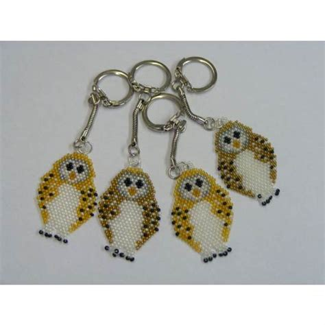 crafted beaded owl keyring the barn owl trust