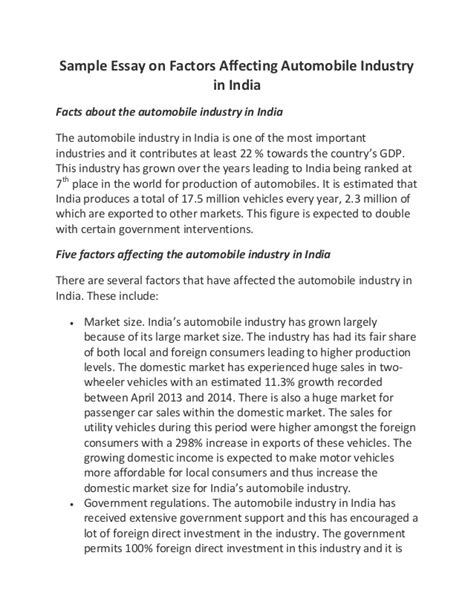 cover letter for automotive industry sle essay on factors affecting automobile industry in india