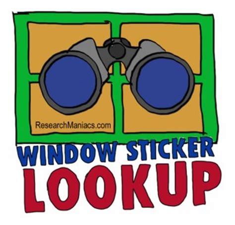 vin number lookup   windows sticker