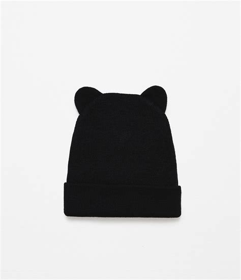 black knit hat zara knit hat with ears in black lyst