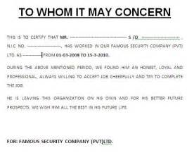 Work Certification Letter Sample To Whom It May Concern Work Experience Letter Format To Whom It May Concern