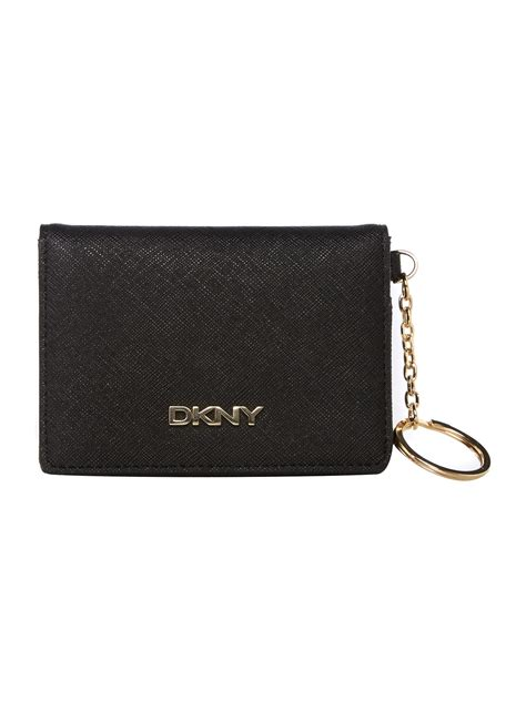 Card Holder Key Ring dkny saffiano black card holder with key ring in black lyst