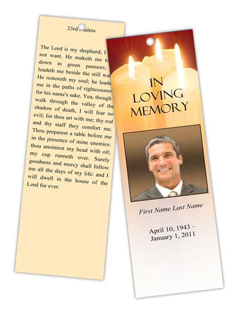 free memorial card templates for mac sacred candles memorial bookmark template funeralprogram