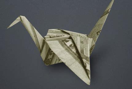 Money Origami Bird - money paper crane paper origami guide