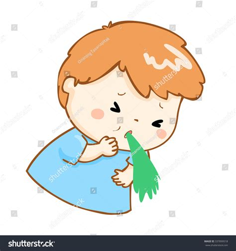 vomito alimentare ill boy vomiting because food poisoning stock vector