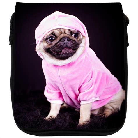 pug hoodie pug dressed in pink hoodie black shoulder bag ebay