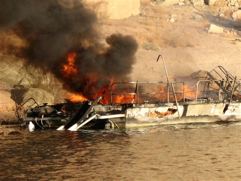 houseboat fire sends six to hospitals glen canyon - Houseboat Fire