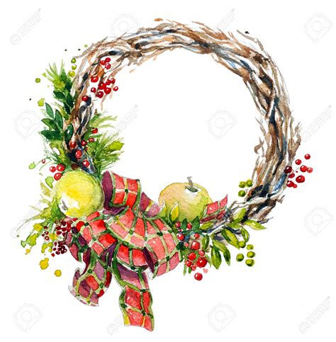 hand painted watercolor wreath christmas decoration