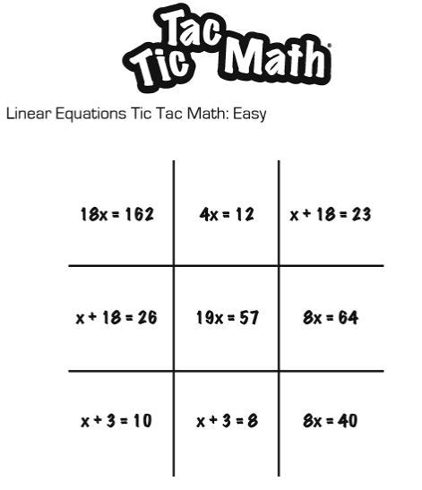 math tic tac toe template tic tac toe worksheets davezan