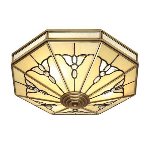 gladstone antique brass tiffany flush ceiling light