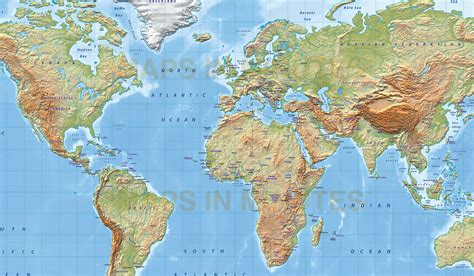 relief map digital vector world relief map in the gall projection regular colour uk centric in illustrator