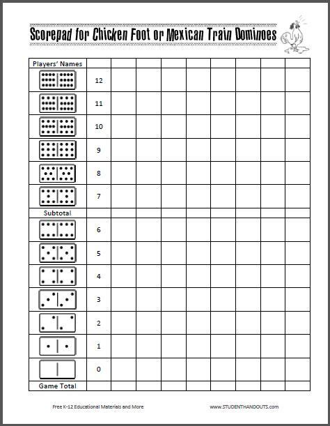 printable domino directions scorepad for chicken foot or mexican train dominoes free