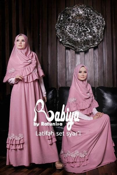Gamis Butterfly Set Fashion Muslim latifah dress syari pink baju muslim gamis modern