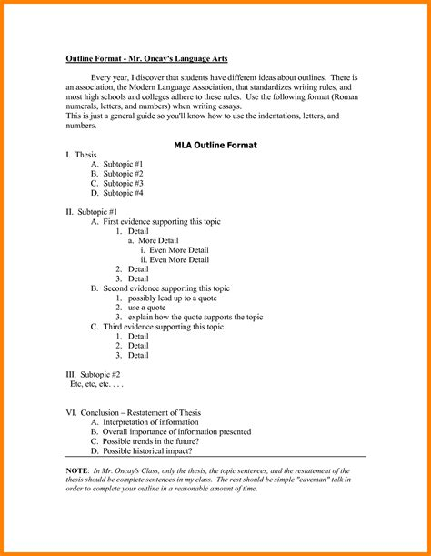 essay outline template mla format 7 mla research paper outline letter format for