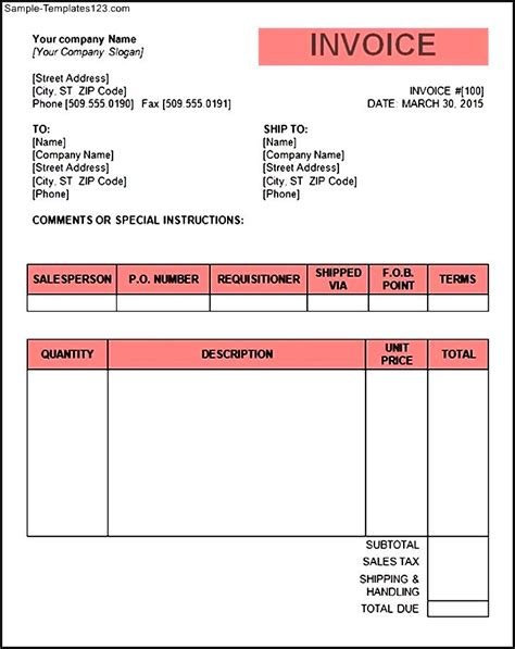 Tax Invoice Template Word Doc Invoice Exle Word Document Invoice Template