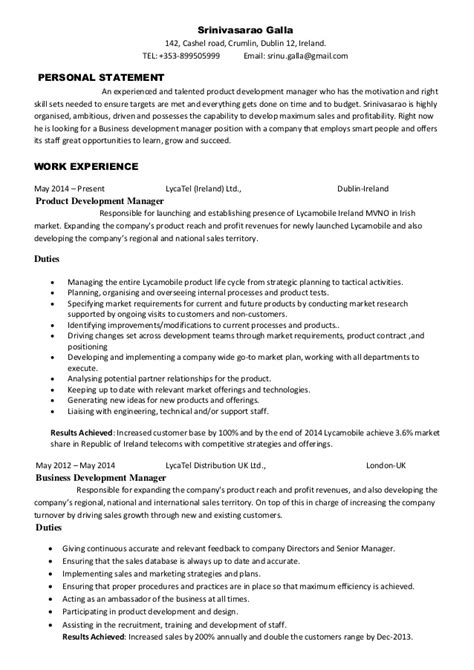 product development manager resume sle srinivasarao galla product development manager cv