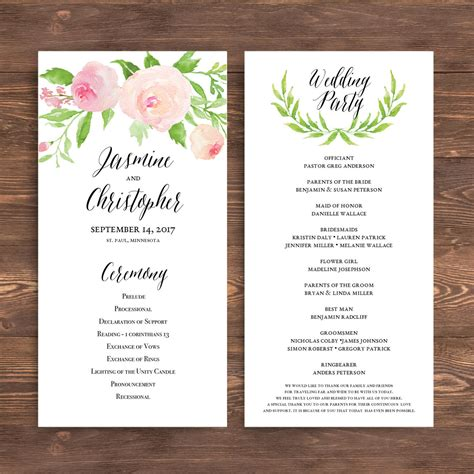 template for wedding program wedding ceremony program template free calendar template