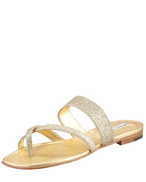 gold sparkly sandals manolo blahnik susa flat glitter sandal gold in gold lyst