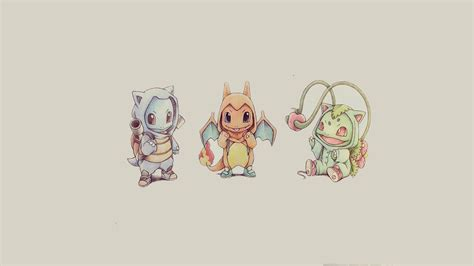 bulbasaur squirtle and charmander pokemon wallpape