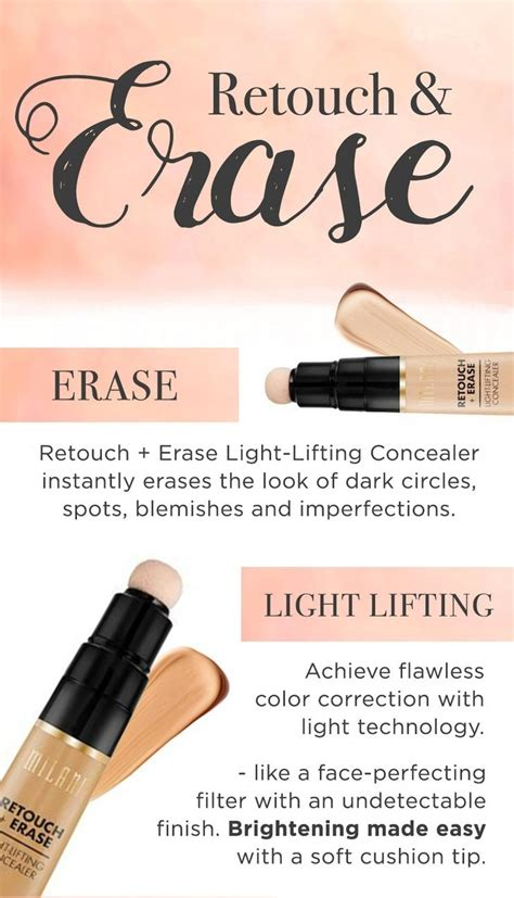 Millani Retouch Erase Light Lifting Concealer milani retouch erase light lifting concealer 02 light beautyspot malaysia s health
