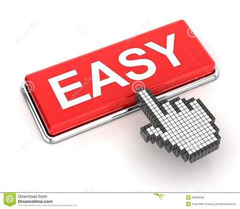 hand cursor clicking an easy button stock illustration