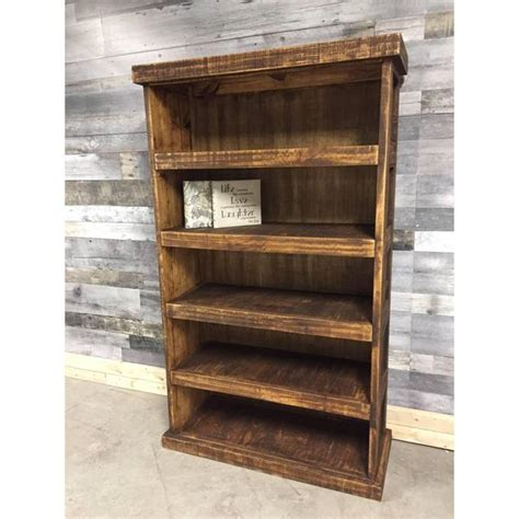 Barn wood looking rustic pine bookcase   Rustic Furniture