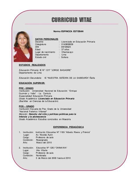 Modelo De Curriculum Vitae Peru Para Docentes Curriculum Vitae