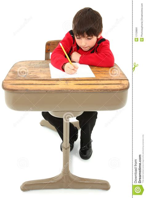 Kid At Desk Child Desk Student Work Stock Image Image Of American 17129891