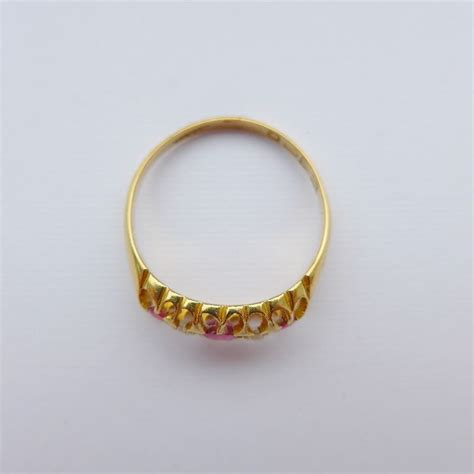 pretty antique 18ct gold ring ruby diamonds