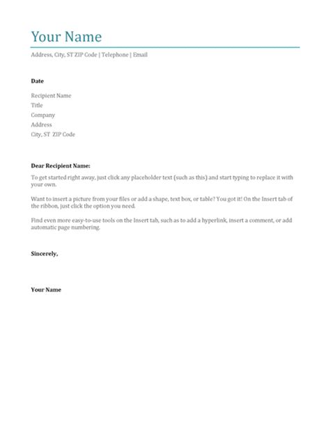 cover letter blue office templates