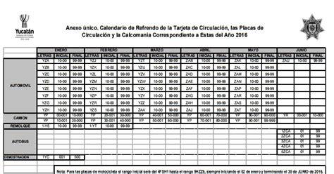 calendario para refrendo de veh culos en yucat n calendario de refrendo de tarjeta de circulaci 243 n placas y
