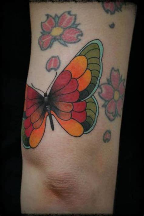 New School Butterfly Tattoo | new school leg butterfly tattoo by elektrik revolver